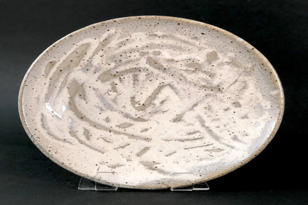 Clay Plate / Shallow Bowl (with copper glaze) by Gordon Hickmott (Brixton St Pottery)
