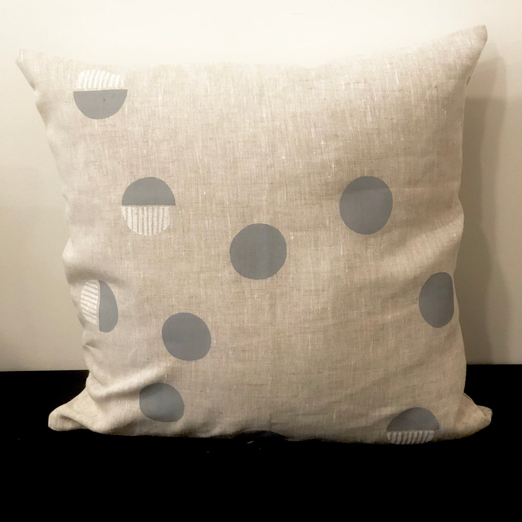 Grey White Spots - Linen Cushion Cover by Pebble and Stone includes Feather Cushion