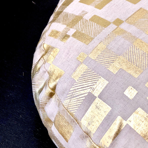 Circle Cushion Tartan Gold Foil - Tinker by Printink Studio