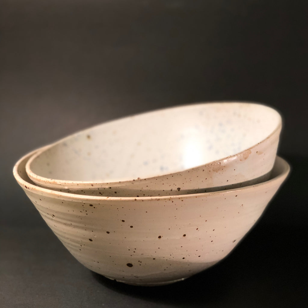 Clay Salad Bowl (Cream Copper Glaze) by Gordon Hickmott (Brixton St Pottery)
