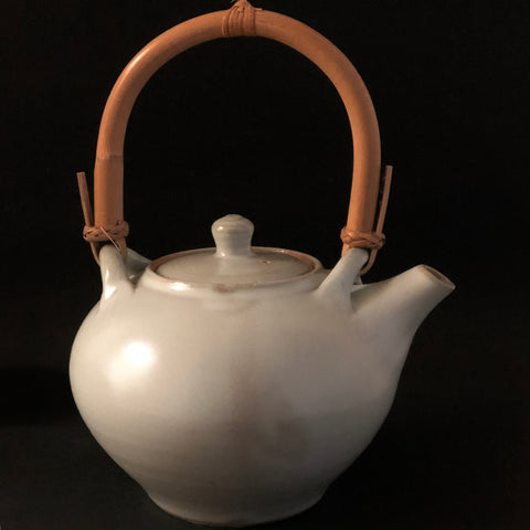Grey/Light Blue Clay Tea Pot with Bamboo Handle by Hiliary Jones