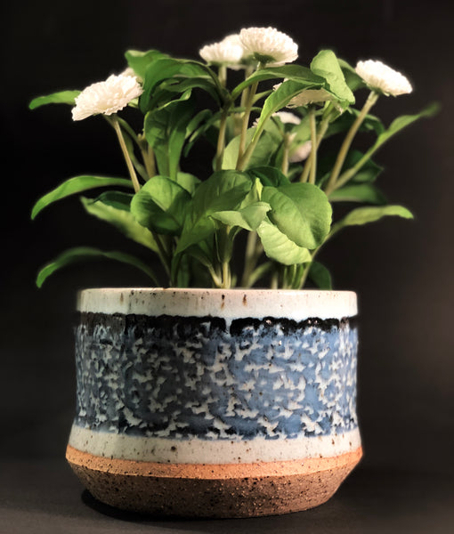 Clay Planter (Blue and Black Glaze) by Gordon Hickmott