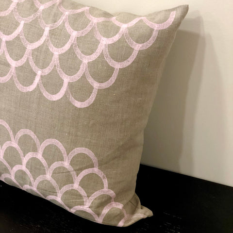 Pink Swirls on Oat - Linen Cushion Cover by Pebble and Stone includes Feather Cushion
