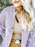 Lavender Bubble Cardigan Sweater
