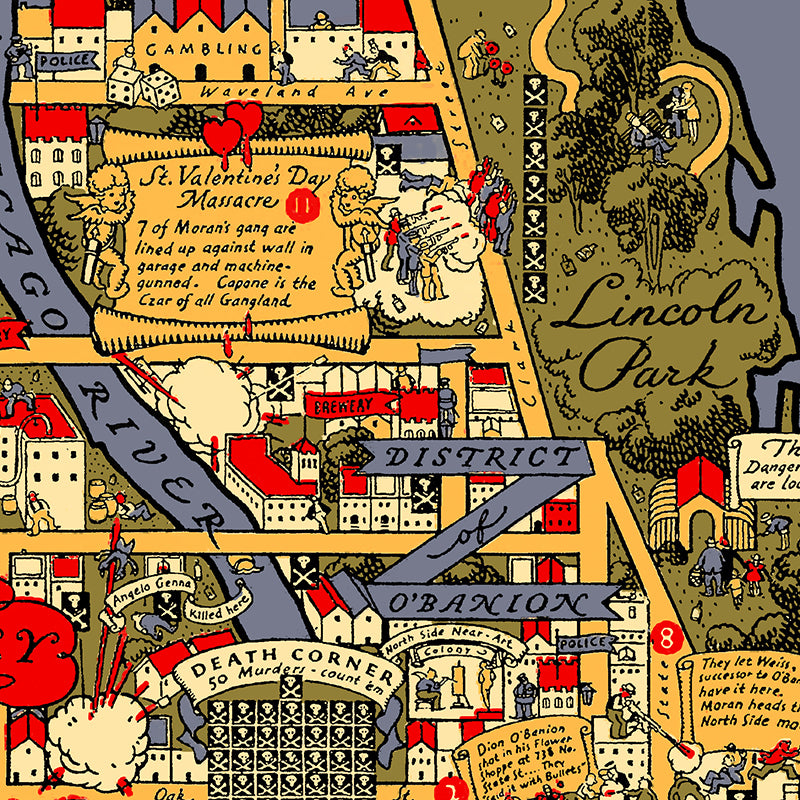 Chicago Gangland Map Poster by Transit Tees for Local Universe