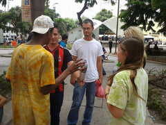 Stephen, Mia, Jeremy and a group of street boys in the plaza in Tegucigalpa, Honduras. ExploreLocalUniverse.com