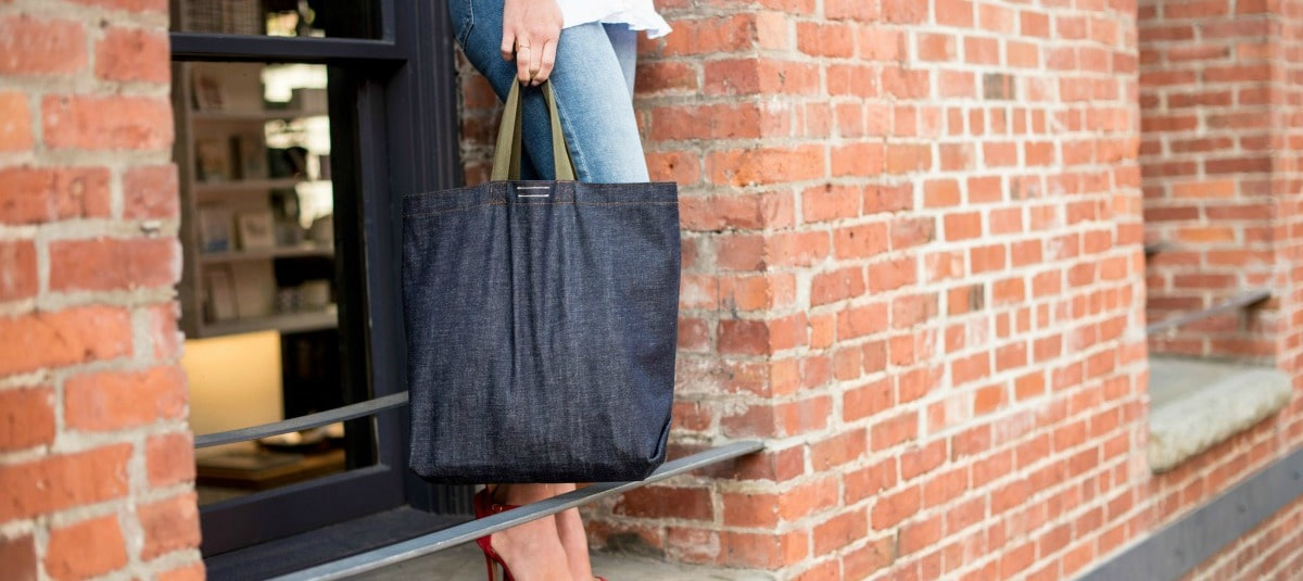 sustainable cotton denim tote from SOURCE and Local Universe