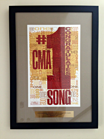 One of songwriter Brett Jones's awards hanging in the condo we rented in Nashville for ExploreLocalUniverse.com.
