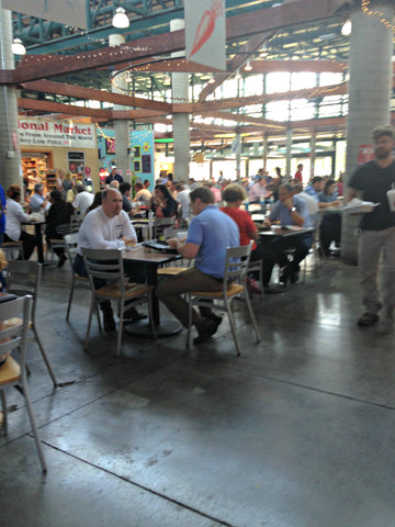 The dining hall at the Nashville Farmers' Market. ExploreLocalUniverse.com