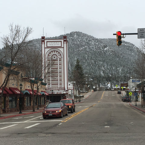 The theater in downtown Estes Park, home to The Stanley Hotel, inspiration for The Shining, with Local Universe. www.explorelocaluniverse.come