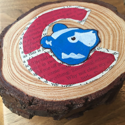 Joelle Scillia of PageFree in Chicago creates handmade, upcycled Cubs coasters available at www.explorelocaluniverse.com.