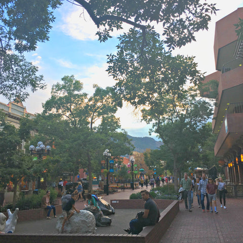Pearl Street in downtown Boulder is endlessly interesting. See www.explorelocaluniverse.com for visitor tips and locally made, sustainably made goods that benefit Colorado causes!