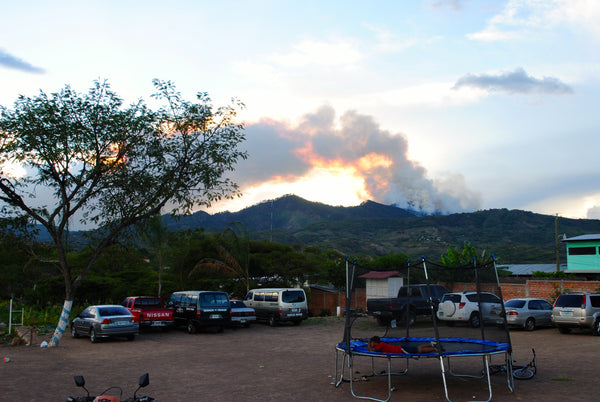 Forest fire in the hills near the Micah House in Honduras. ExploreLocal Universe.com
