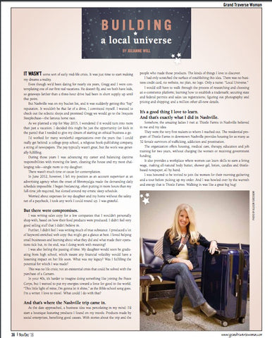 Local Universe and Julianne Will in Grand Traverse Woman Magazine November 2016