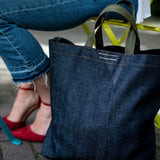 The SOURCE Denim Tote, made sustainably in Seattle and available from www.explorelocaluniverse.com.