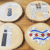 These handmade, upcycled wooden Chicago coasters are available at www.explorelocaluniverse.com.