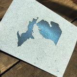Michigan Mitten Denim from the Paperworks Studio greeting card set benefiting the disadvantaged, available at Local Universe. www.explorelocaluniverse.com