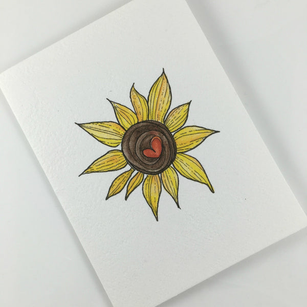 KAT BODIE - MY SUNFLOWER, from the Paperworks Studio greeting card set benefiting the disadvantaged, available at Local Universe. www.explorelocaluniverse.com
