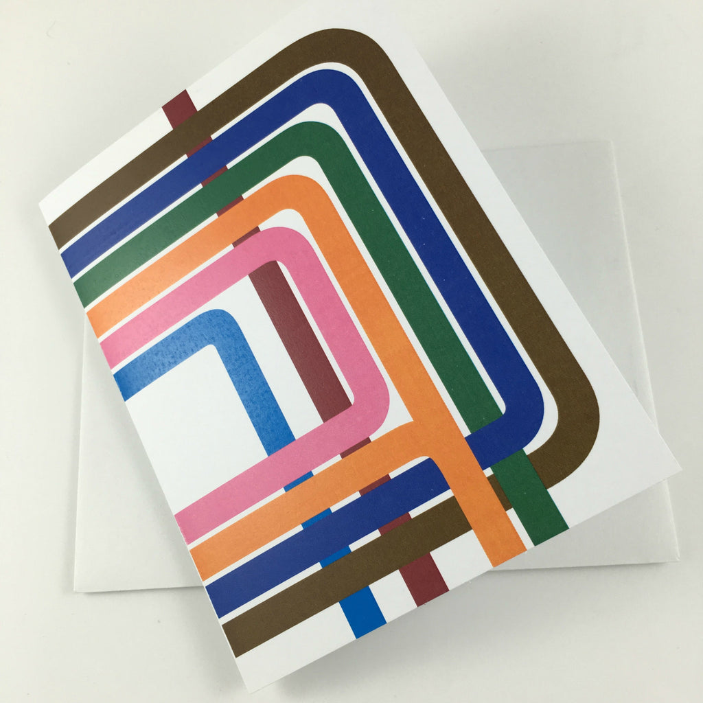 A Chicago Loop greeting card sustainably made by Transit Tees, available from Local Universe at www.explorelocaluniverse.com and benefiting Thresholds.