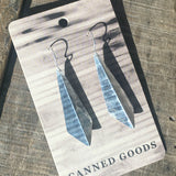 Diamond Drop Earrings upcycled from tin cans made in Colorado