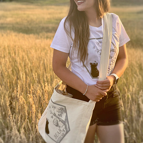 Bear With Me organic cotton market sling bag for Local Universe