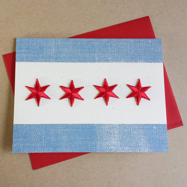 Chicago flag greeting card sustainably made by Transit Tees, available from Local Universe at www.explorelocaluniverse.com and benefiting Thresholds.