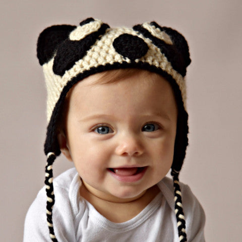 Panda hat crocheted and locally made with sustainable wool by Stephanie Dimitrov for Local Universe