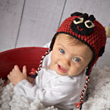 Ladybug hat crocheted locally from sustainable wool by Stephanie Dimitrov for Local Universe