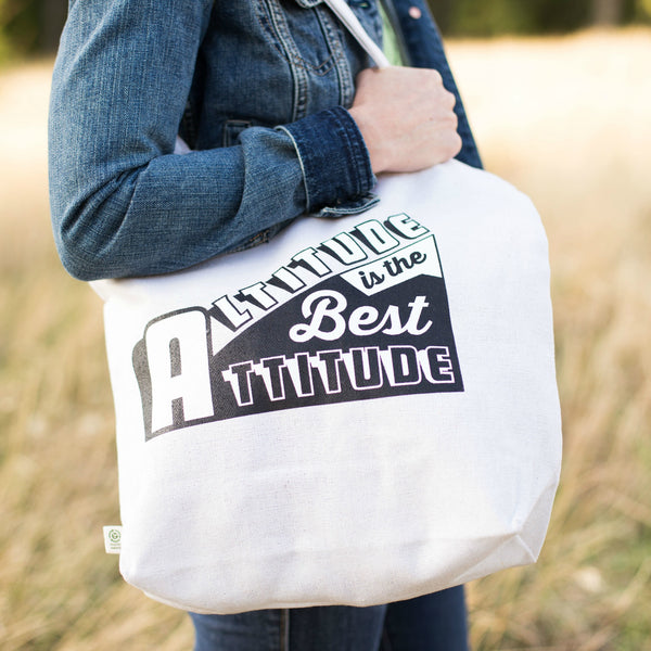 Altitude Is the Best Attitude Recycled Cotton Tote by David Ives for Local Universe