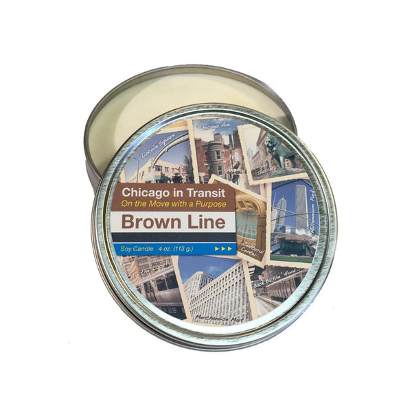 The Chicago Brown Line Soy Candle. Read our Chicago travel blog and shop the collection of locally made, sustainably made goods at www.explorelocaluniverse.com.