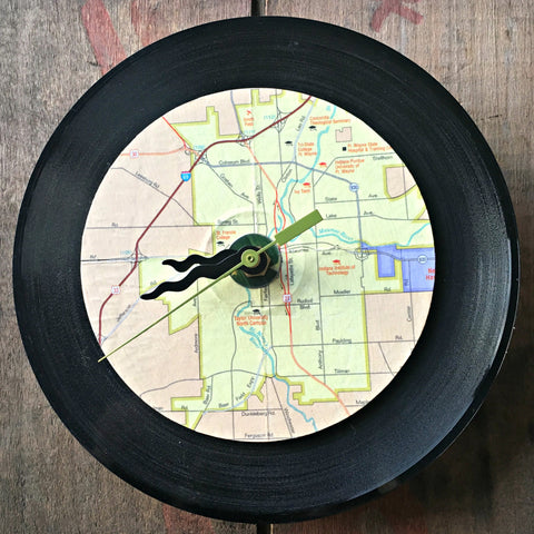 upcycled Fort Wayne wall clock by the Art Farm for Local Universe