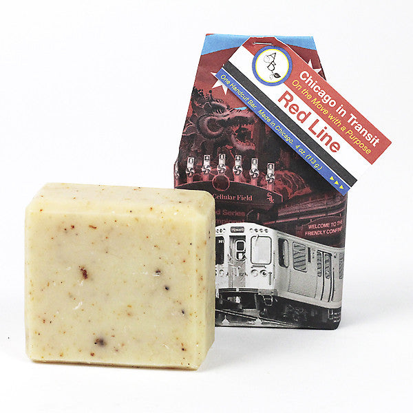 The Chicago Red Line Olive Oil Soap. Read our Chicago travel blog and shop the collection of locally made, sustainably made goods at www.explorelocaluniverse.com.