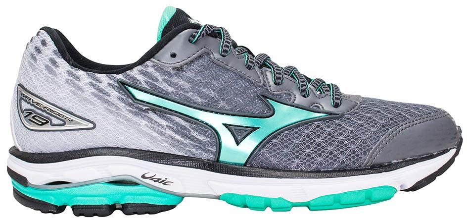 new concept c2b84 ae0a3 Mizuno Wave Rider 19 - Quiet Shade/Electric Green/Black