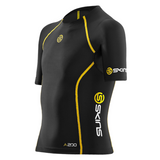 Skins A200 Youth Compression Short Sleeve Top - Black/Yellow