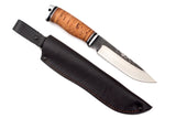 Medved, Karma, Hunting and Camping knife, Fixed, Stainless 95X18 blade, Birch Bark and Aluminum handle