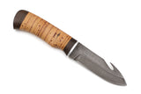 Hunting Knife Shkura, Damascus, Birch Bark
