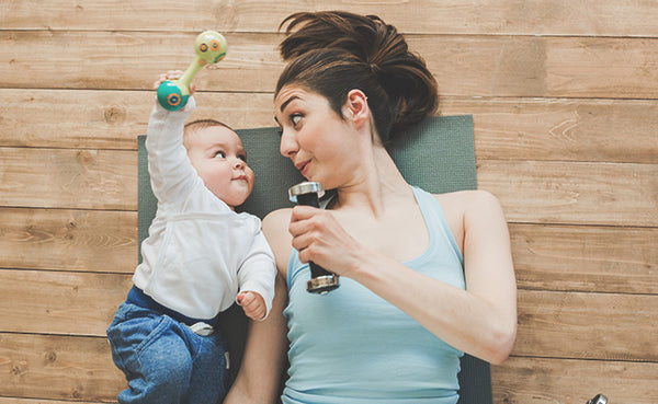 postpartum exercise, working out after baby, exercising at home with baby