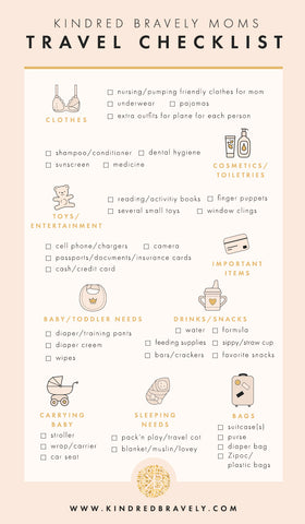 Travel checklist for traveling with baby