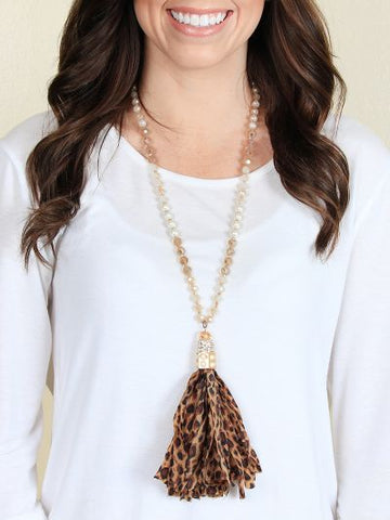 Beaded Necklace with Leopard Tassel