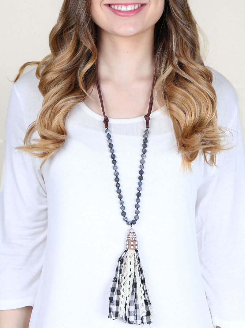 Black/White Buffalo Plaid Fabric Tassel Necklace