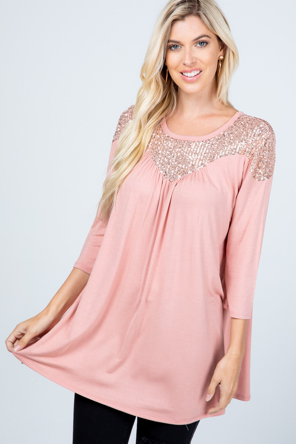 *SALE* Time To Shine Sequin - Top - Blush