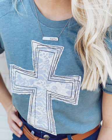 *SALE* Lace Applique Cross - Graphic Shirt