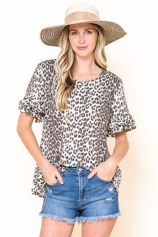 *SALE* Attention Grabber Leopard Ruffle - Top