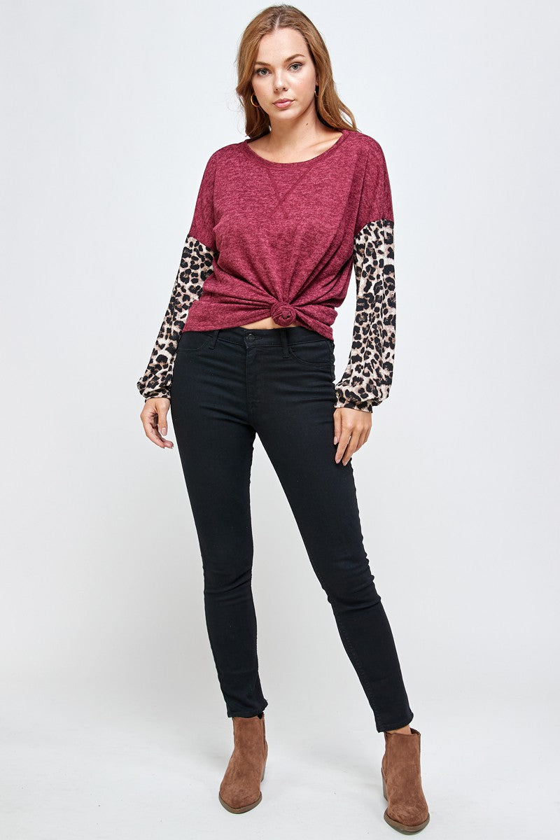 *SALE* Taking Notice Leopard Sleeve - Top