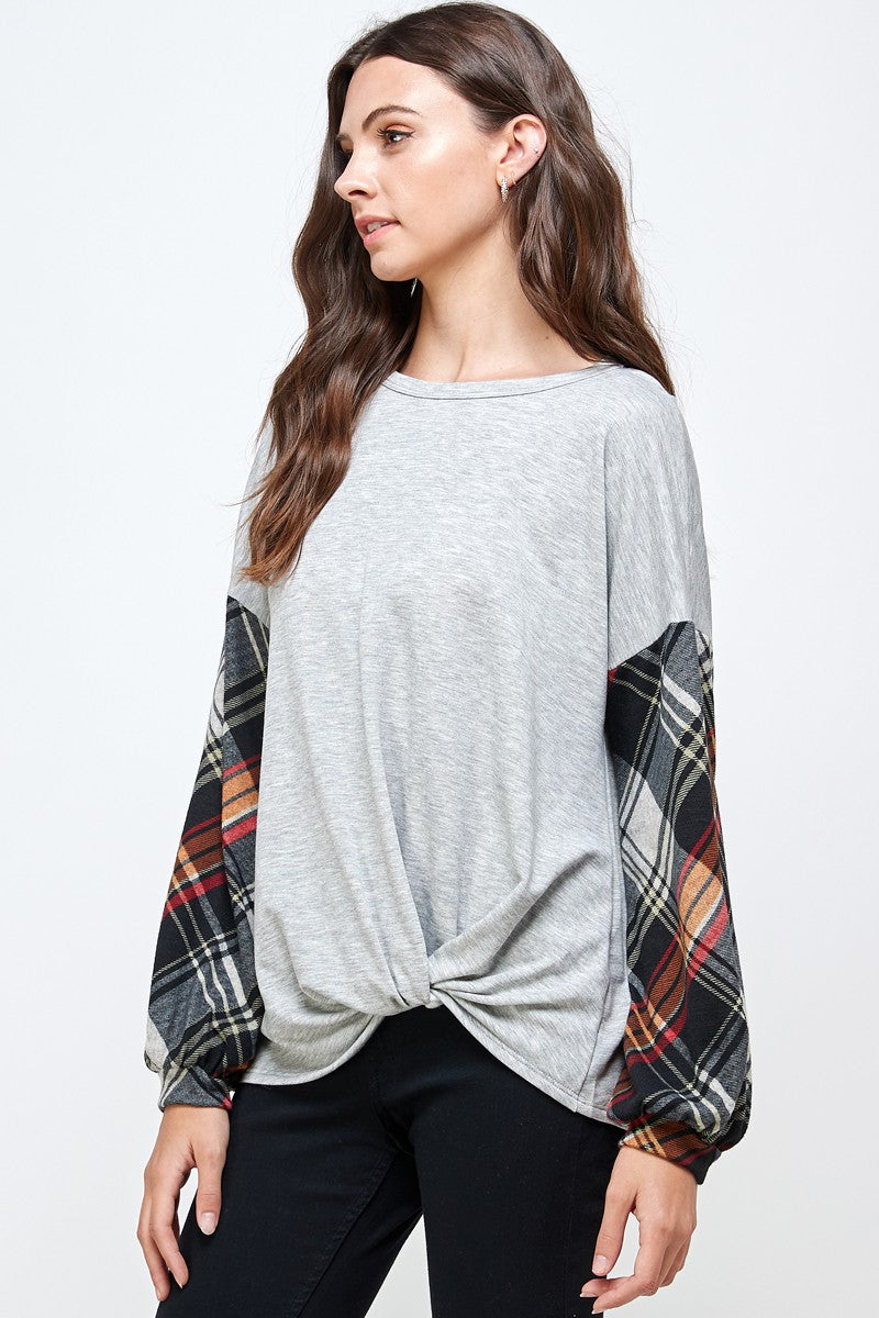 *SALE* Make A Promise Plaid Sleeve - Top