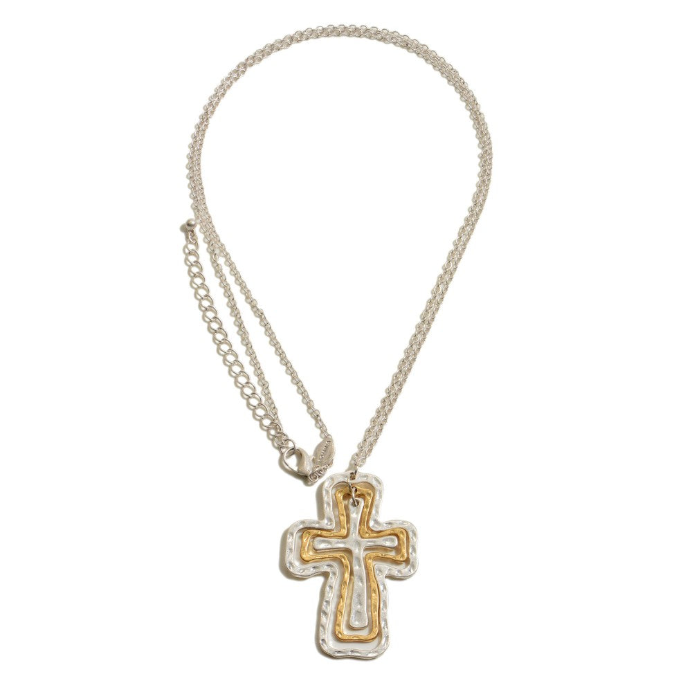 Gold/Silver Hammered Cross Necklace