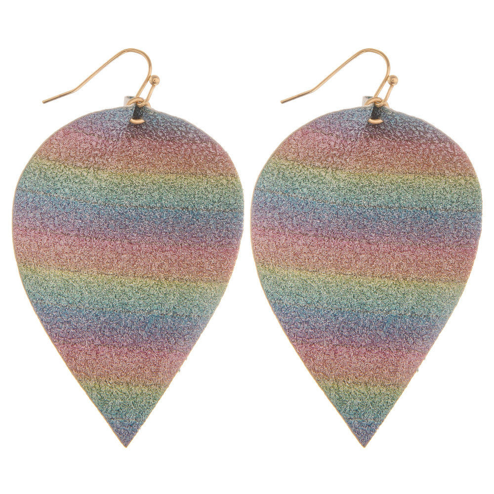 Unicorn Leather Leaf Earrings