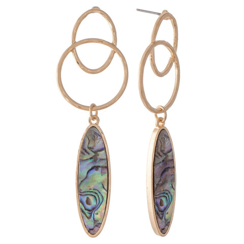 Abalone Link Drop Earrings