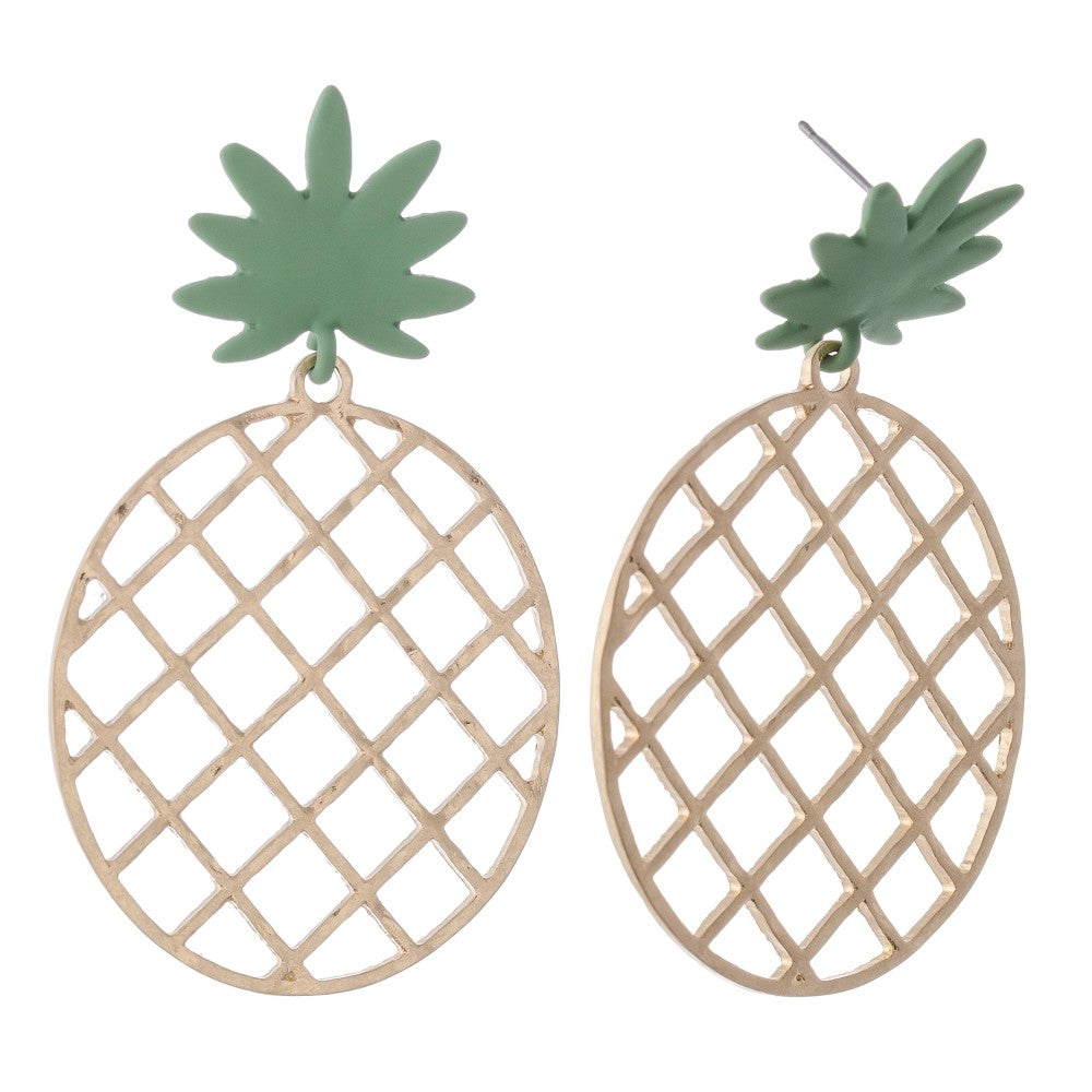 Pineapple Statement Earrings - Gold