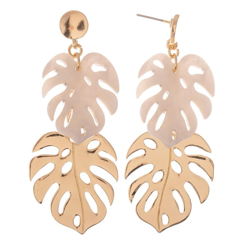 Gold Resin Palm Leaf Earrings